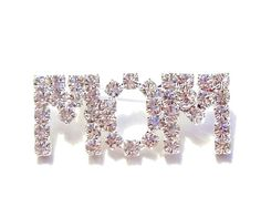 MOM Word Pin Brooch Clear Austrian Crystal Prong Set Silvertone Mother's Day #nobrand