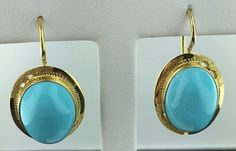 Lady's 18k yellow gold oval shaped Persian turquoise leverback earrings, Italy in Jewelry & Watches, Fine Jewelry, Fine Earrings | eBay