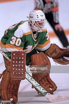 jon-casey-of-the-minnesota-north-stars-prepares-for-a-shot-against-picture-id509266062 (406×612) Hockey Goalie, Hockey Games, Hockey Players, Ice Hockey, Minnesota North Stars, Minnesota Wild, Wild North, Goalie Mask, Nfl Fans
