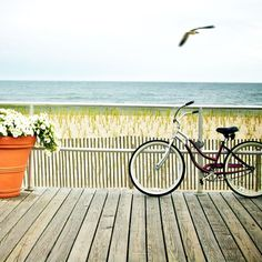 Bikes on the boardwalk in Ocean City, New Jersey