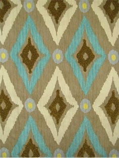 """Modern Ikat Pool.   Robert Allen Fabric - Diamond tribal print with frisse embroidery. Amazing & unique decorator fabric. 100% cotton. V, 12.75"""" - H, 6.75"""" repeat. 54"""" wide."""