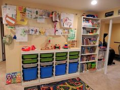 Kids Wall Storage System If you are looking for kids wall storage system you'… – ThePins Kids Playroom Furniture, Playroom Storage, Kids Storage, Storage Room, Toy Storage, Playroom Ideas, Storage Ideas, Wall Storage Systems, Basket Shelves
