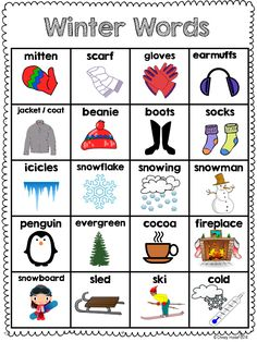 Winter word bank that students can use to help increase independence during… Preschool Classroom, Preschool Learning, Preschool Activities, Teaching Kids, Kindergarten, English Words, English Lessons, Learn English, Vocabulary Words