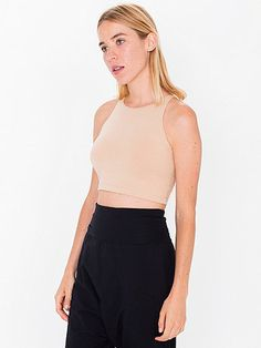 Classic sleeveless tank crop top featuring a fitted neckline.