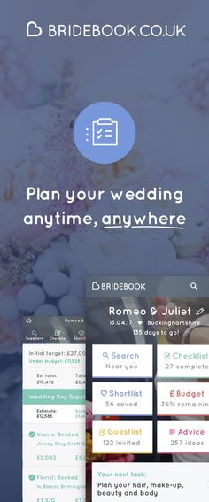 SIgn up to Bridebook, the free online wedding planning app & website! We'll help you discover your venue, manage your guests, stay on track and celebrate in style - all for free, all in one place. You just supply the spouse!