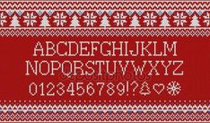 Скачать - Рождество шрифт. Вязаный Латинский алфавит на бесшовный вязаный узор снежинки и пихты. Nordic fair isle вязание, зимний праздник свитер дизайн. Векторная иллюстрация — стоковая иллюстрация #133800978