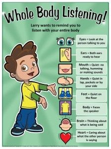 Whole Body Listening Poster by Social Thinking Recently, I took part in a county-wide speech therapy round-table discussion about casel. Behaviour Management, Classroom Management, Preschool Behavior Management, Whole Body Listening, School Social Work, Classroom Behavior, Classroom Decor, Eyfs Classroom, Year 1 Classroom