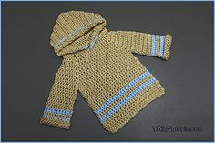 Add some style to a newborn's layette with the Infant Crochet Pullover Hoodie. This crochet pullover can be customized to include yarn color of your choosing, as well as appliques and other embellishments. Crochet Pullover Pattern, Hoodie Pattern, Crochet Jacket, Baby Pullover, Pullover Hoodie, Crochet For Kids, Free Crochet, Crochet Children, Boy Crochet