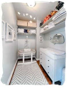 Small baby nursery 17 Ideas baby room small space tiny nursery boys for 2019 Your Guide to Bat Small Baby Nursery, Nursery Set Up, Baby Room Boy, Small Space Nursery, Baby Nursery Closet, Baby Room Decor, Small Rooms, Nursery Room, Small Spaces