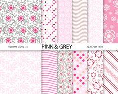 Pink and grey floral digital paper scrapbook by ValerianeDigital  https://www.etsy.com/listing/150469695/pink-and-grey-floral-digital-paper?ref=shop_home_active_19