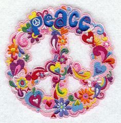 Flowery Peace Sign Embroidered Flour Sack Hand/Dish Towel
