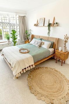 Room Ideas Bedroom, Home Decor Bedroom, Decor Room, Adult Bedroom Ideas, Room Decorations, Bedroom Inspo, Nature Bedroom, Simple Bedroom Decor, Stylish Bedroom