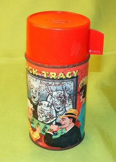 Vintage Dick Tracy Thermos – Comic Character –Rusty Old Aladdin Collectible