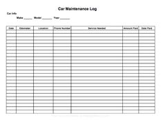 Printable car maintenance log to help you keep track of scheduled maintenance, repairs and purchases.