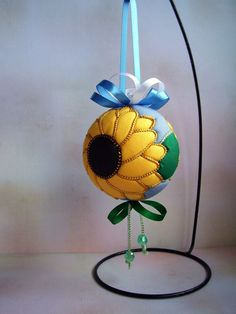 Sunflower Kimekomi Christmas Ornament by OrnamentDesigns on Etsy