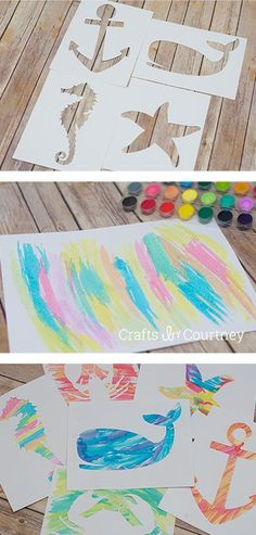 Silhouette Craft - Nautical Water Colors Art - Let Them pick the outline of some object/animal that has to do with water and use contact paper!