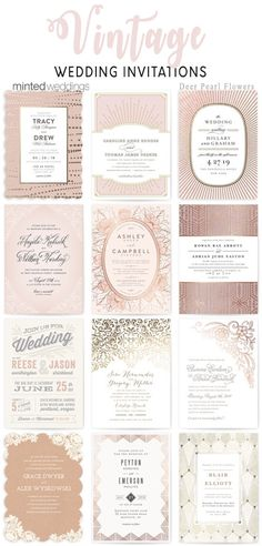 Minted vintage rose gold wedding invitations