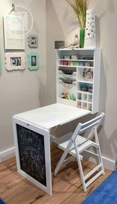 I love this fold down table and organizer so much! It would be a great desk/art space for a child or an adult.  http://www.theidearoom.net/2016/07/creative-spaces-kids.html