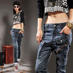 Free shipping 2014 spring 2014 spring women's plus size jeans female skinny pants multi-pocket pants long trousers