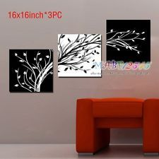 O8P087 3PCS Hand painted Oil Painting Canvas Black &...