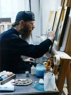 Monk in Icon studio. Writing Icon, Russian Orthodox, Byzantine Art, My Art Studio, Orthodox Christianity, Process Art, Orthodox Icons, Sacred Art, Artists