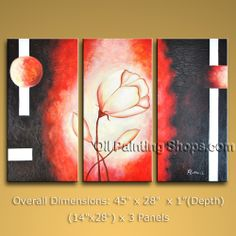 Triptych Contemporary Wall Art Floral Painting Tulip Decoration Ideas. In Stock $132 from OilPaintingShops.com @Bo Yi Gallery/ ops1508t