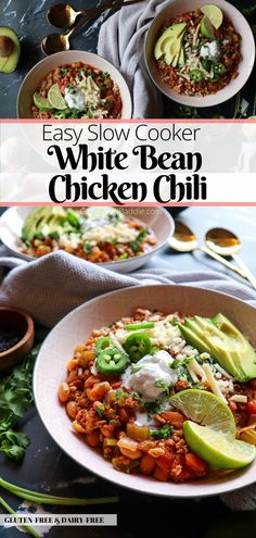 This slow cooker White Bean Chicken Chili is a hearty, flavorful, and easy weeknight meal that can feed the whole family. Top with avocado, jalapenos, cilantro, and shredded cheese for a full-on mouthwatering meal. Gluten-Free & Dairy-Free  Get the full recipe at GoodFoodBaddie.com  #chickenchili #whitebeanchickenchili #slowcookerchili #slowcookermeal #chickenchilicrockpot Vegan Recipes Plant Based, Dairy Free Recipes, Easy Healthy Recipes, Easy Dinner Recipes, Gluten Free, White Bean Chicken Chili Slow Cooker, Slow Cooker Chili, Yummy Chicken Recipes, Real Food Recipes