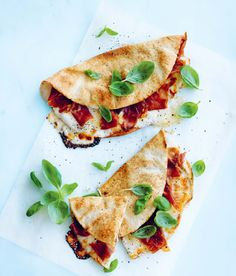 Try this easy and delicous Ham and Cheese Piadinas recipe from Australian food editor and author Donna Hay. #dinner