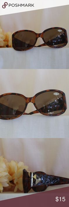 Designer style READER Sunnies - 2 strengths Now you can read in the sun!  At the pool or the beach stop squinting to try to read that book or menu while looking great. I have the following strengths: 1 pair of +2.25 2 pair of +2.50 Tortoise shell color with silver accents Brand new Please comment size before purchasing, so I can update the listing Create your custom bundle for additional savings Accessories Sunglasses