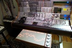 Custom made modular synth cabinet and control system.