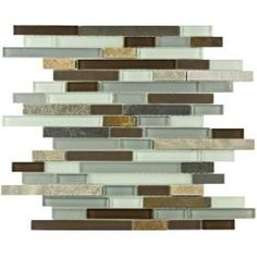 Merola Tile Tessera Piano Tundra 12 in. x 11 3/4 in. Glass and Stone Mosaic Wall Tile