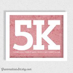 5k Running Print Running Poster Runner Girl 5k by GrammaticalArt, $18.00