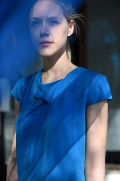 CRUBA TOP Shibori, Under Construction, Top, Blue, Crop Shirt, Blouses