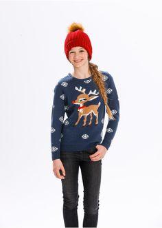 Sweter bożonarodzeniowy z motywem renifera • 74.99 zł • bonprix