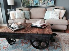factory cart coffee table, how to, painted furniture, repurposing upcycling Painted Coffee Tables, Reclaimed Wood Coffee Table, Decorating Coffee Tables, Coffee Table With Wheels, Cart Coffee Table, Painted Furniture, Diy Furniture, Reclaimed Furniture, Refinished Furniture