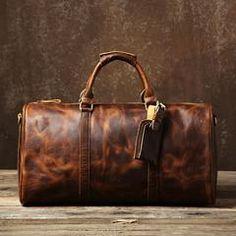Genuine Leather Mens Large Blue Travel Bag Cool Duffle Bag Shoulder Bag Weekender Bag for Men