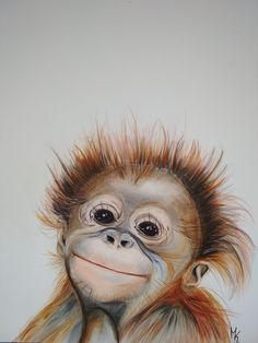 s es Tier-Baby orang-utan affe Kinderzimmer print Kunstdruck Kunst airbrush wall art beautiful home art poster hand painted Animal Paintings, Animal Drawings, Art Drawings, Monkey Nursery, Nursery Art, Sweet Animal, Art Sur Toile, Baby Orangutan, Chimpanzee