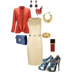 Love the dress and jacket....I would probably go with a blue or salmon colored pump