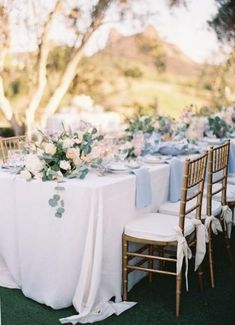 A Watercolor Wedding Awash in Lavender + Blush Pastel Blue Wedding Table Decor! A Watercolor Wed Wedding Table Flowers, Spring Wedding Flowers, Wedding Table Decorations, Wedding Arrangements, Wedding Centerpieces, Summer Wedding, Wedding Colors, Wedding Bouquets, Trendy Wedding