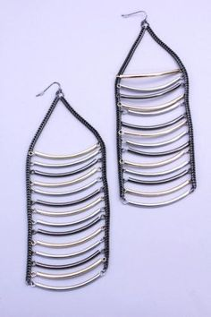 Pewter Multi Chain Link Ladder Fish Hook Earrings