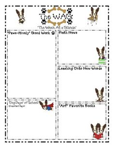 Terriers in the School Dog Themed Weekly Newsletter