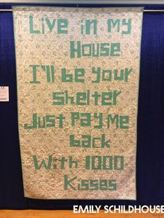 Lyric Quilt Made by Emily Schildhouse Quilted by Emily Schildhouse  This is a wedding quilt I made for my sister.  I chose a stanza of lyric...