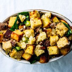 Spinach, Fennel, and Sausage Stuffing with Toasted Brioche Recipe - Bon Appétit