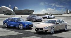 Maserati models: the all-new Quattroporte, the luxurious Ghibli, the modern coupé GranTurismo, and the revolutionary GranCabrio.