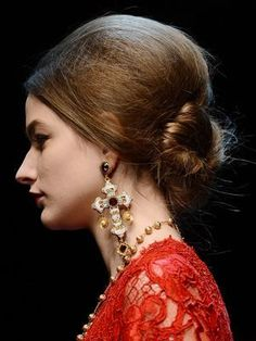 Hair Ideas: DIY Bridesmaid Styles Inspired by the Runways  -- Dolce and Gabbana Fall 2013 low chignon | allure.com