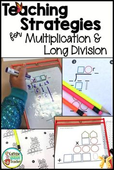 How to Teach Multi-Digit Multiplication and Long Division - Caffeine Queen Teacher If you're looking for the best strategies for teaching multi-digit multiplication and long division, you've found a great place to start. These are the easiest methods for student learning. Best of all, they work with 4th-grade students, 5th-grade students, at-risk students, strugglers, and special education students – ALL STUDENTS! This visual method really does work …<br> Learn the best way to teach… Multi Digit Multiplication, Multiplication Strategies, Teaching Multiplication, Teaching Strategies, Teaching Math, Teaching Ideas, Student Learning, Dividing Fractions, Multiplying Fractions
