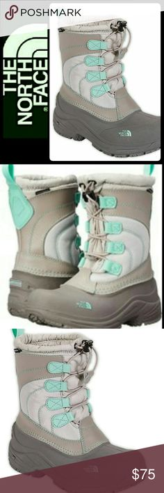 North Face Youth Lace Boots North Face Signature Brand in Youth Lacey Boots! Beautiful in Grey with Teal Accents! Features Thermafelt Insulation for Those Brutal Winter Days! See Above for More Features and Product Details! Used with Normal Wear, Mint Condition! Youth Size 2 North Face Shoes Boots