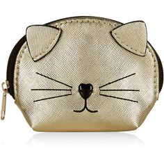 Accessorize Metallic Cat Purse (16 AUD) ❤ liked on Polyvore featuring bags, wallets, brown bag, heart bag, metallic wallet, brown wallet and cat bag