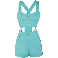 Chi-Chi Heart Cutout Playsuit ($13) ❤ liked on Polyvore featuring jumpsuits, rompers, dresses, playsuits, jumpsuit, shorts, blue romper, blue jumpsuit, jump suit and cut out romper