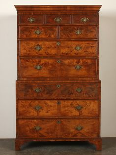 "Late 18th Century English Chippendale chest on chest, better known as a ""highboy""."